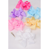 "Hair Bow Extra Jumbo Rose Pastel Grosgrain Bow-tie/DZ **Pastel** Alligator Clip,Size-6""x 6"" Wide,2 of each Color Asst,Clear Strip & UPC Code"