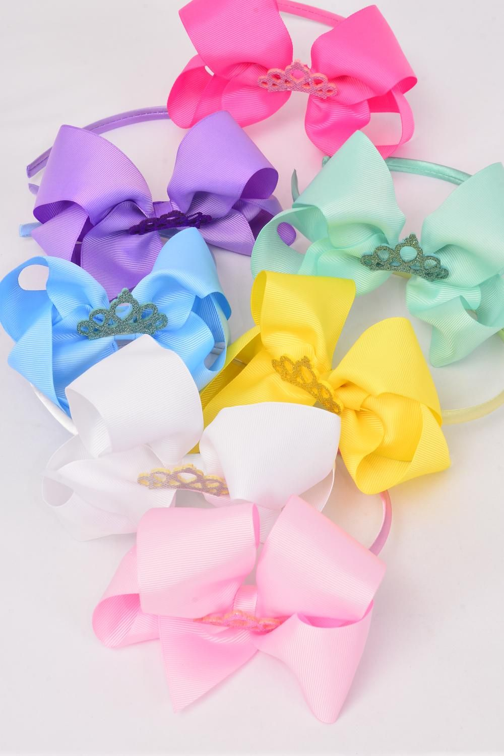 "Headband Horseshoe Tiara Jumbo Tiara Double Layer Grosgrain Bow-tie Pastel/DZ **Pastel** Bow Size-6""x 5"" Wide,2 White,2 Pink,2 Yellow,2 Lavender,2 Blue,1 Hot Pink,1 Mint Green,7 Color Mix,Display Card & UPC Code,Clear Box"