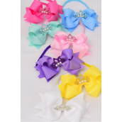 "Elastic Headband Tiara Triple Layer Bow Pastel Grosgrain Bow tie/DZ **Pastel** Size-6""x 5"" Wide,2 Baby Pink,2 White,2 Yellow,2 Blue,2 Lavender,1 Hot Pink,1 Green 7 Color Asst,Hang Tag & UPC Code,Clear Box"