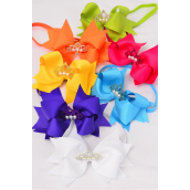 "Elastic Headband Tiara Triple Layer Bow Citrus Grosgrain Bow tie/DZ **Citrus** Size-6""x 5"" Wide,2 Fuchsia,2 Blue,2 Yellow,2 Purple,2 White,1 Lime,1 Orange,7 Color Mix,Hang Tag & UPC Code,W Clear Box"