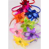 "Headband Horseshoe Satin Sequin Flower Feathers Multi/DZ **Multi** Flower-5"" Wide,2 Pink,2 Red,2 Purple,2 Orange,1 Lime,1 Blue,1 Yellow,1 Fuchsia,8 Color Asst,hang tag & UPC Code,W Clear Box"