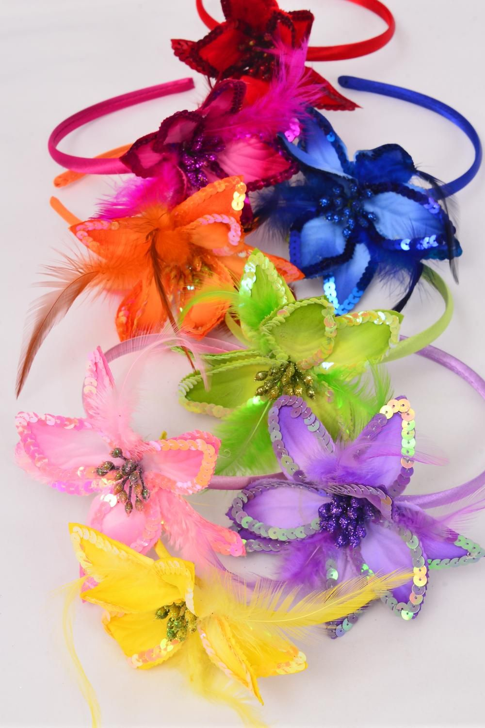 Headband Horseshoe Satin Sequin Lilly Flower Feathers Multidz