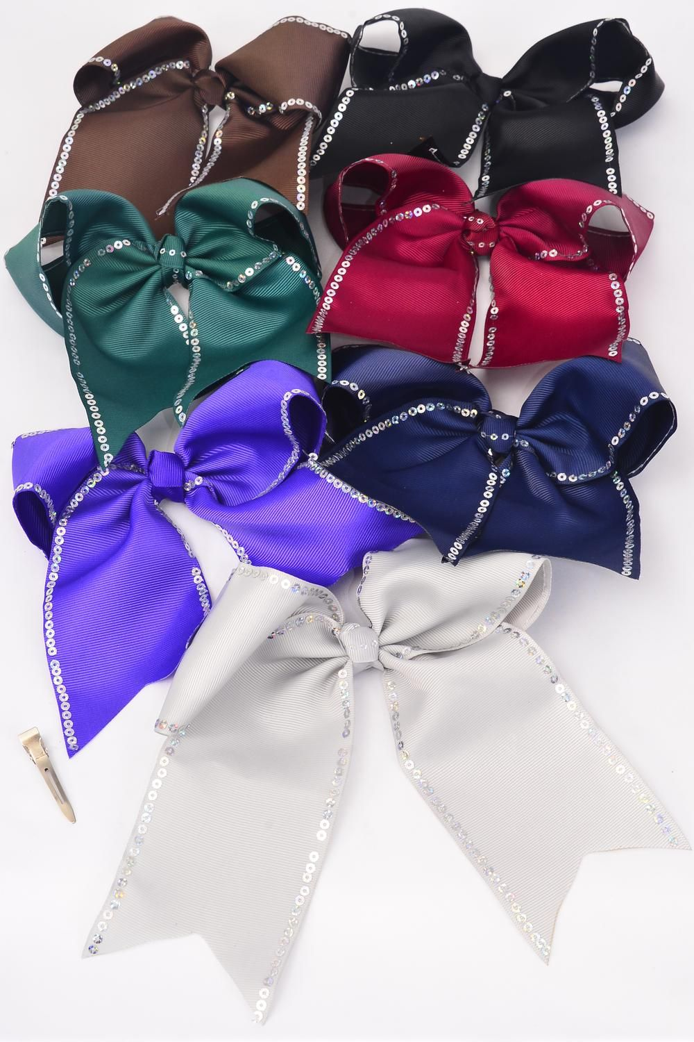 "Hair Bow Extra Jumbo Long Tail Sequin Cheer Bow Type Grosgrain Bow-tie Dark Multi/DZ **Dark Multi** Alligator Clip, Size-7""x 6"" Wide,2 Black,2 Navy,2 Burg,2 Hunter Green,2 Brown,1 Gray,1 Purple Mix,Clip Strip & UPC Code"