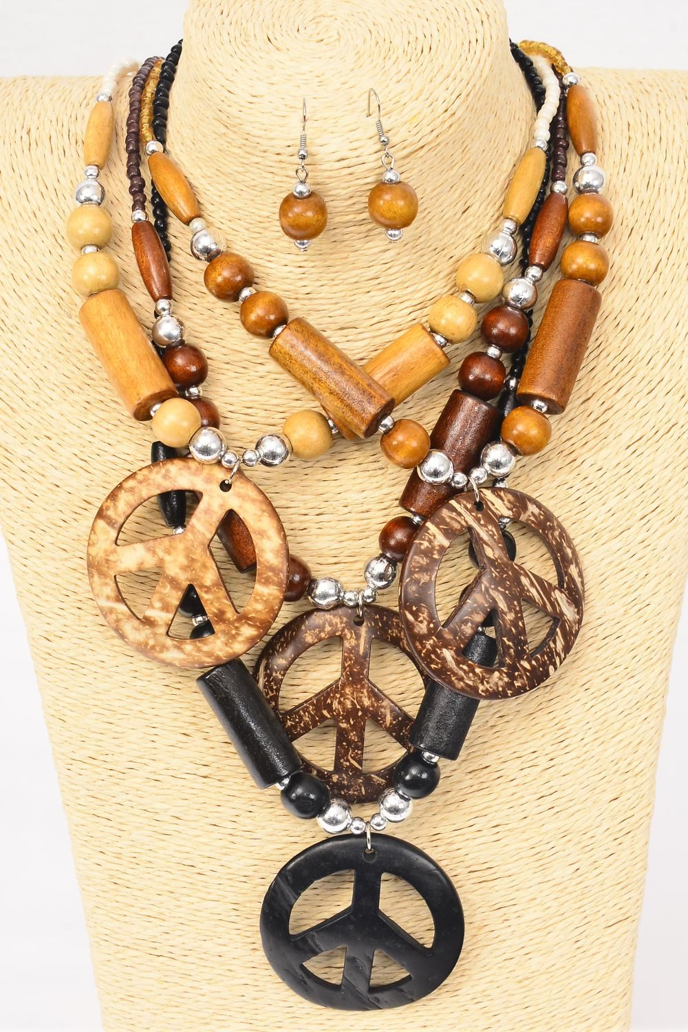 "Necklace Sets Wooden Bead Coconut Shells Peace Sign/DZ Pendant Size-2.5"", 22"" Long, 3 of each Color Asst, Hang Tag & OPP Bag & UPC Code"