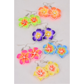 "Earrings Hand Paint Flowers Citrus Aloha/DZ **Fish Hook** Flower Size-1.25"" Wild,2 of Each Color Asst,Earring Card & Opp Bag & UPC Code -"
