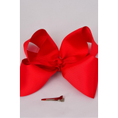 "Hair Bow Extra Jumbo Cheer Type Bow Red Grosgrain Bow-tie/DZ **Red** Alligator Clip,Size-8""x 7"" Wide,Clip Strip & UPC Code"