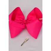 "Hair Bow Extra Jumbo Cheer Type Bow Fuchsia Grosgrain Bow-tie/DZ **Fuchsia** Alligator Clip,Size-8x 7"" Wide,Clear Strip & UPC Code"