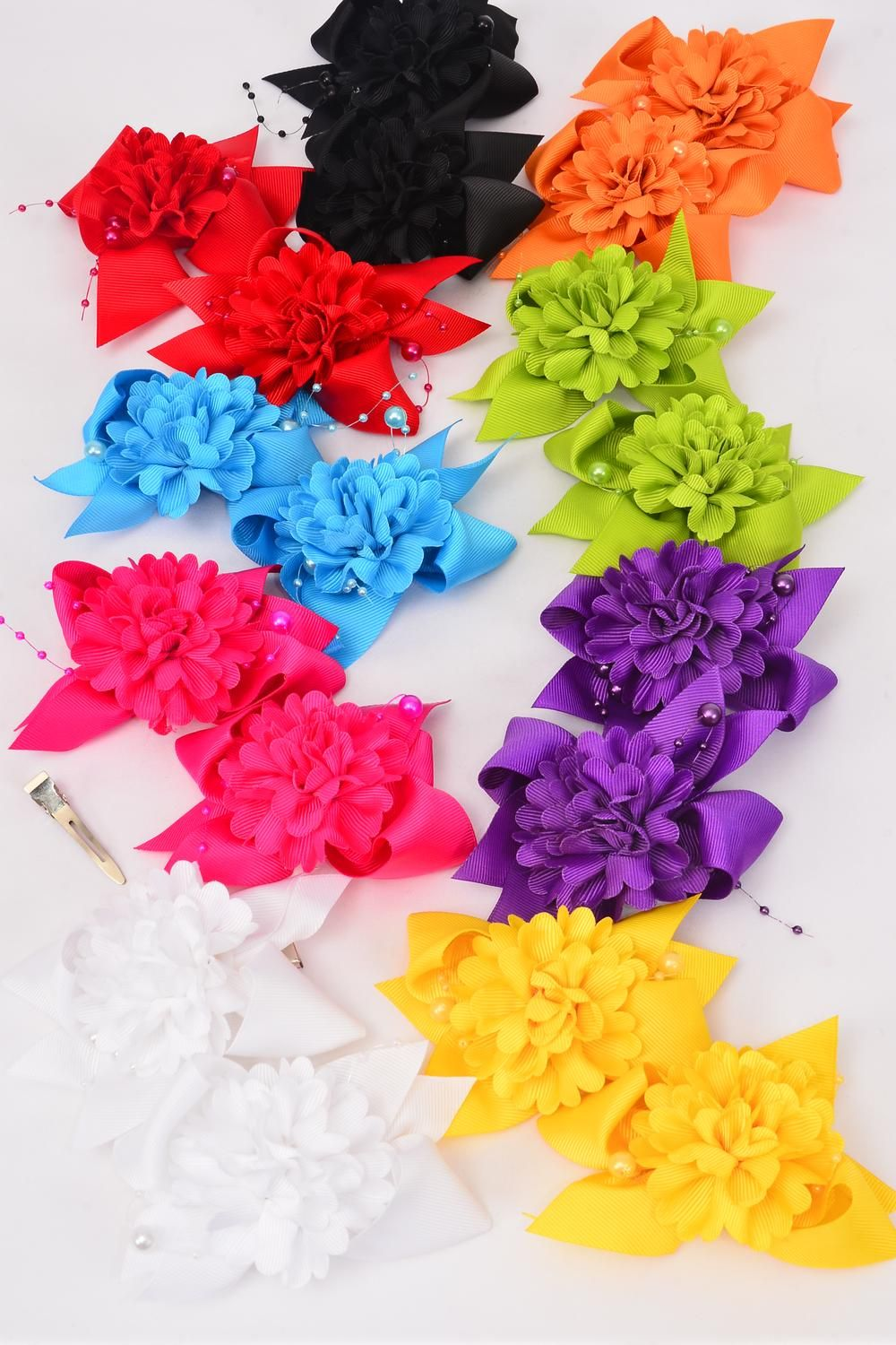 "Hair Bows 24 pcs Multi Flower & Pearl Strings Grosgrain Bow-tie/DZ **Multi** Size-4""x 3"", 2 Black,2 White,2 Fuchsia,1 Yellow,1 Red,1 Blue,1 Purple,1 Lime,1 Orange mix,Clip Strip & UPC Code,12 Pair=Dozen"