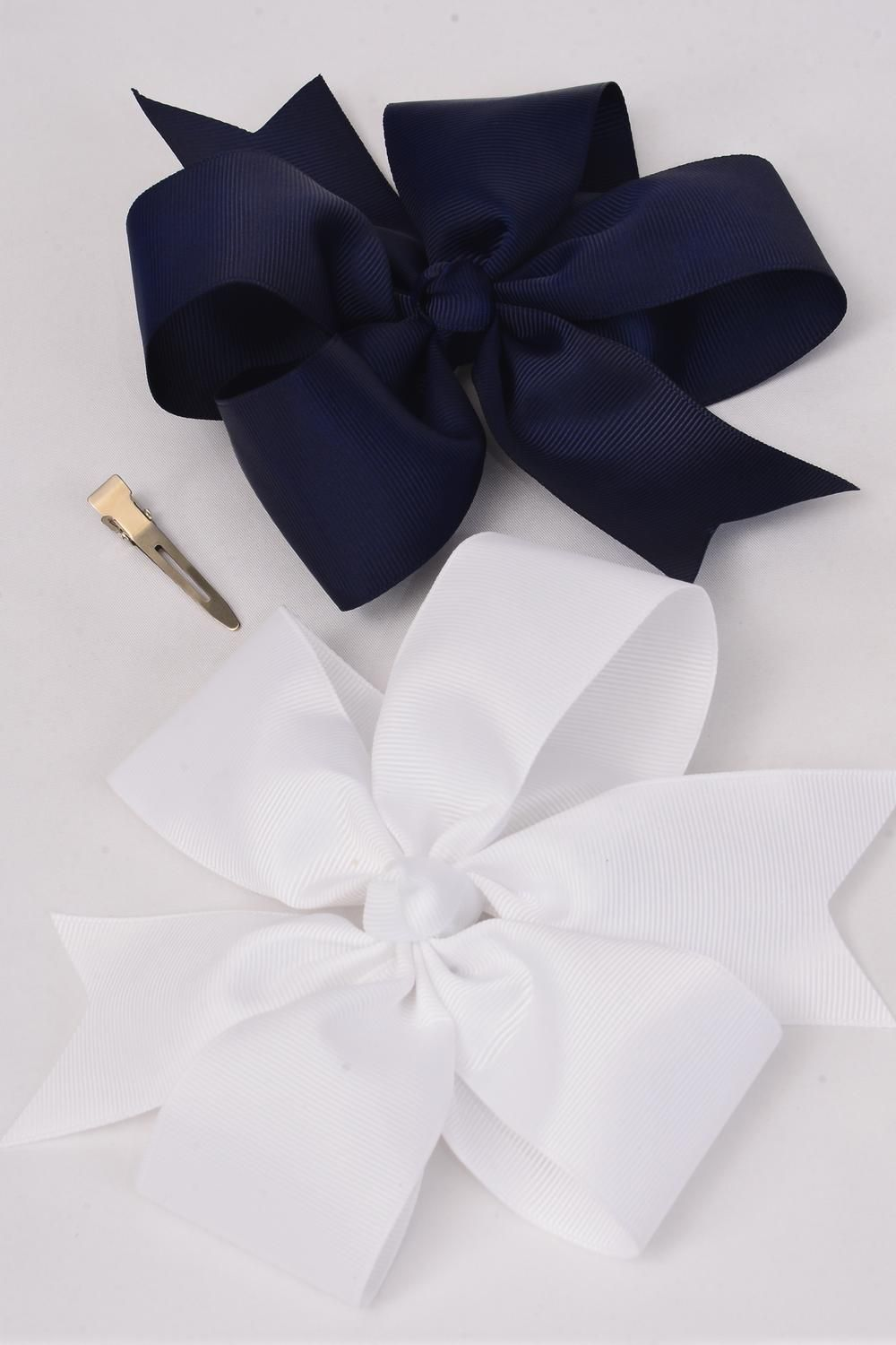 "Hair Bow Jumbo Navy & White Mix Alligator Clip Grosgrain Bow-tie/DZ **Navy & White Mix** Alligator Clip,Size-6.5""x 6.5"" Wide,6 of each Color ASst,Clip Strip & UPC Code"