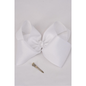 "Hair Bow Extra Jumbo Cheer Type Bow White Alligator Clip  Grosgrain Bow-tie/DZ **White** Size-8""x 7"" Wide,Alligator Clip,Clip Strip & UPC Code"