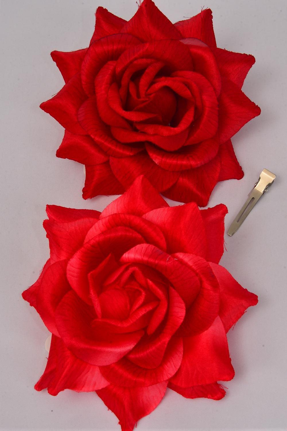 "Flower Silk Tea-Rose Jumbo Red Mix/DZ **Red Mix** Size-6"" Wide,Alligator Clip & Brooch & Elastic,6 Of each Red Color Asst,Hang Tag & UPC Code,W Clear Box"