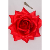 "Flower Silk Tea-Rose Large Glitter Trime  Red/DZ **Red** Size-5"" Wide,Alligator Clip & Brooch & Elastic,6 of each Color Asst,Hang Tag & UPC Code,W Clear Box"