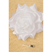 "Flower Silk Tea-Rose Large Glitter TRime White/DZ **White** Size-5"" Wide,Alligator Clip & Brooch & Elastic,Hang Tag & UPC Code,W Clear Box"