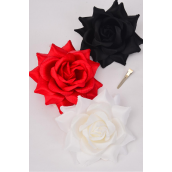 "Silk Flower Tea-Rose Large Red White Black Mix/DZ **Red** Size-5"" Wide,Elastic Pony & Brooch & Alligator Clip,4 of each Color Asst,Hang Tag & UPC Code,W Clear Box"