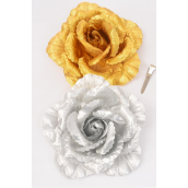 "Flower Jumbo Metallic Tea Rose Gold Silver Asst/DZ Size-6"" Wide,Alligator Clip & Brooch & Elastic,6 Gold & 6 Silver Asst,Hang Tag & UPC Code,W Clear Box"
