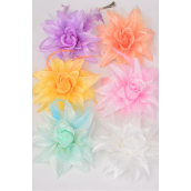 "Silk Flower Lily Baby Breath & Feathers Alligator Clip Pastel/DZ **Pastel** Size- 5.5"",Alligator Clip & Brooch & Elastic Pony,2 of each Color Asst,Display Card & UPC Code"