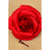 "Flower Silk Tea-Rose Jumbo Red/DZ **Red** Size-6"",Alligator Clip & Brooch & Elastic,Hang Tag & UPC Code,W Clear Box"