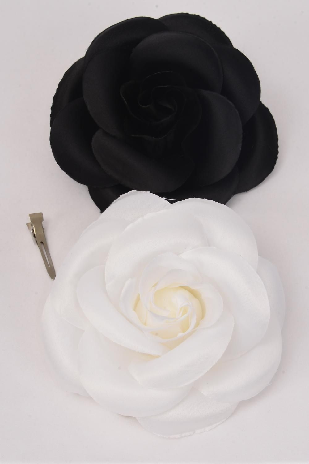 "Flower Silk Tea-Rose Jumbo Black & White Mix/DZ Size-6"" Wide,Alligator Clip & Brooch & Elastic,6 Black,6 White Asst,Hang Tag & UPC Code,W Clear Box"