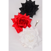 """Flower Silk Tea-Rose Large Glitter Trim Red White Black Mix/DZ Size-5"""",Alligator Clip & Brooch & Elastic,4 Red,4 White,4 Black,4 of each Color Asst,Hang Tag & UPC Code,W Clear Box"""