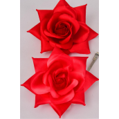 "Flower Silk Tea-Rose Large Red/DZ **Red** Size-5"",Alligator Clip & Brooch & Elastic,6 of each Color Asst,Hang Tag & UPC Code,W Clear Box"