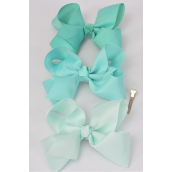 "Hair Bow Jumbo Mint Green Mix Grosgrain Fabric Bow-tie/DZ **Mint Green Mix** Alligator Clip,Size-6""x 5"" Wide,4 of each Color Asst,Clip Strip & UPC Code"