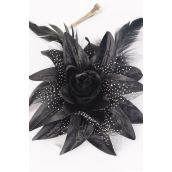 "Silk Flower Lily Baby Breath & Feathers Alligator Clip Black/DZ **Black** Size- 5.5"",Alligator Clip & Brooch & Elastic Pony,Display Card & UPC Code"