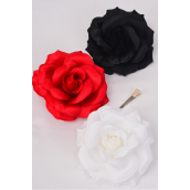 """Flower Silk Tea-Rose Large Red White Black Mix/DZ Size-5.5"""",Alligator Clip & Brooch & Alligator Clip,4 Red,4 White,4 Black,4 of each Color Asst,Hang Tag & UPC Code,W Clear Box"""