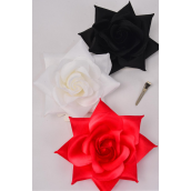 "Flower Silk Tea-Rose Large Red White Black Asst/DZ **Red White Black Mix** Size-5"",Alligator Clip & Brooch & Elastic Pony,4 Red,4 White,4 Black,4 of each Color Asst,Hang Tag & UPC Code,W Clear Box"