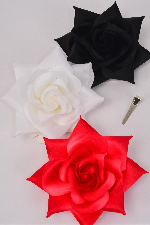 Flower Silk Tea Rose Large Red White Black Asstdz Red White Black