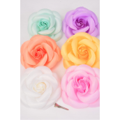 "Flower Silk Tea-Rose Jumbo Pastel Color Asst/DZ **Pastel** Size-6"",Alligator Clip & Brooch & Elastic,2 of each Color Asst,Hang Tag & UPC Code,W Clear Box"