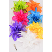 "Silk Flower Lily Baby Breath & Feathers Alligator Clip Citrus/DZ **Citrus** Size- 5.5"",Alligator Clip & Brooch & Elastic Pony,2 White,2 Fuchsia,2 Yelliw,2 Purple,2 Blue,1 Orange,1 Lime Color Mix"