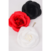 """Flower Silk Tea-Rose Jumbo Red White Black Mix/DZ Size-6"""",Alligator Clip & Brooch & Elastic,4 Red,4 White,4 Black,4 of each Color Asst,Hang Tag & UPC Code,W Clear Box"""