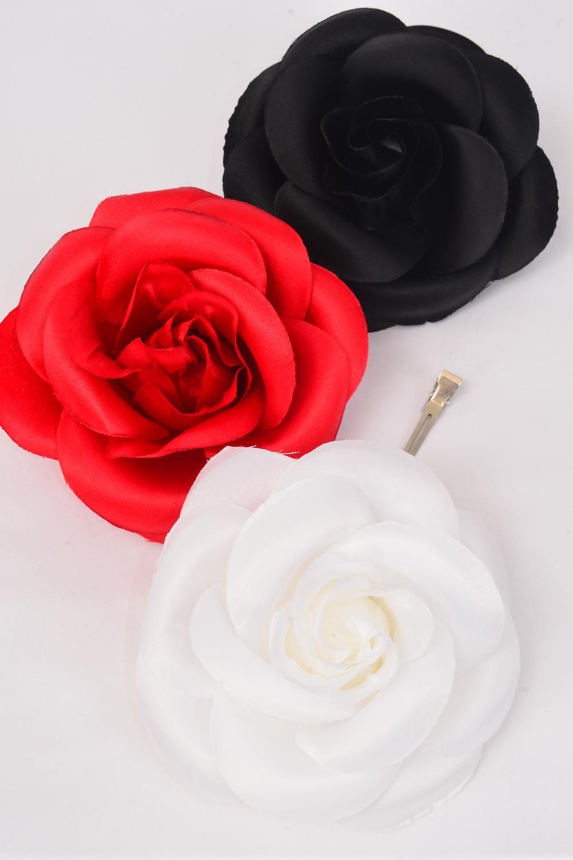 e235fc764f89 Flower Silk Tea-Rose Jumbo Red White Black Mix/DZ Size-6