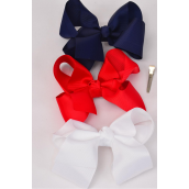 "Hair Bow Jumbo Red White Navy Mix Alligator Clip Grosgrain Fabric Bow-tie/DZ **Alligator Clip** Size-6""x 5"" Wide,4 White,4 Red,4 Navy Mix,Clip Strip & UPC Code"