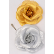 "Flower Metallic Tea-Rose Jumbo G/S Asst/DZ Size-6"" Wide,Alligator Clip & Brooch & Elastic Pony,6 Gold & 6 Silver Asst,Hang Tag & UPC Code,W Clear Box"