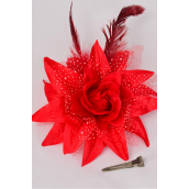 "Flower Silk Lily Baby Breath & Feathers Alligator Clip Red/DZ **Red** Size- 5.5"",Alligator Clip & Brooch & Elastic Pont,Display Card & UPC Code"
