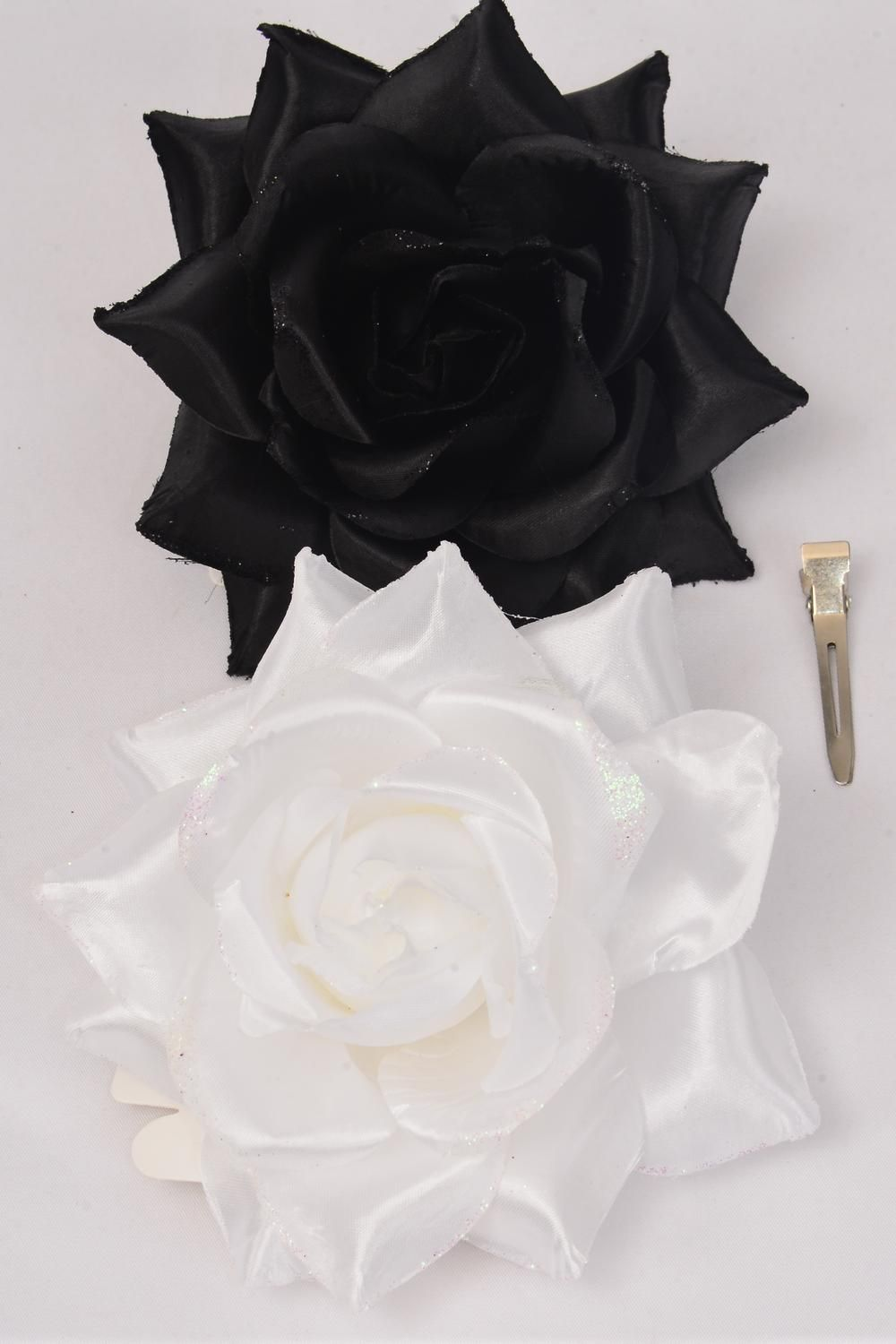 "Flower Silk Tea-Rose Large Glitter Trime Black & White Mix/DZ Size-5"" Wide,Alligator Clip & Brooch & Elastic,6 Black,6 White Asst,Hang Tag & UPC Code,W Clear Box"