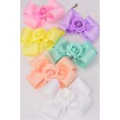 "Hair Bow Jumbo Pastel Center Flower Alligator Clip Grosgrain Bow-tie/DZ **Pastel** Size-6""x 6"" Wide,Alligator Clip,2 of each Color Asst,Clip Strip & UPC Code"