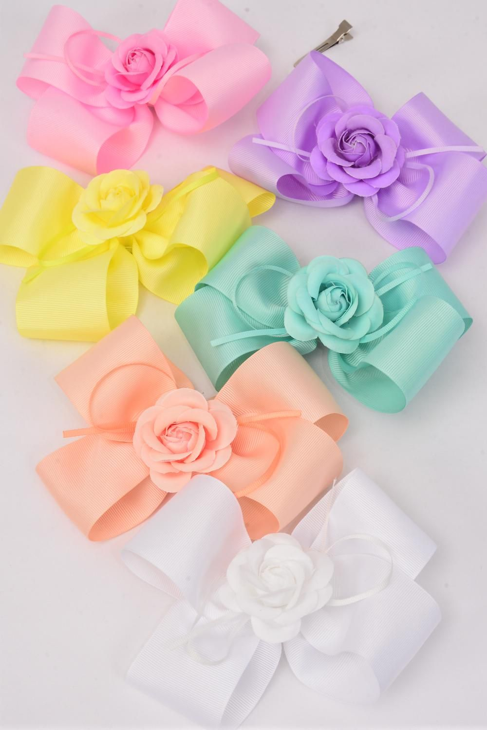 "Hair Bow Jumbo Pastel Center Flower Alligator Clip Grosgrain Bow-tie/DZ **Pastel** Size-6""x 6"" Wide,Alligator Clip,2 of each Color Asst,Clip Strip & UPC Code"