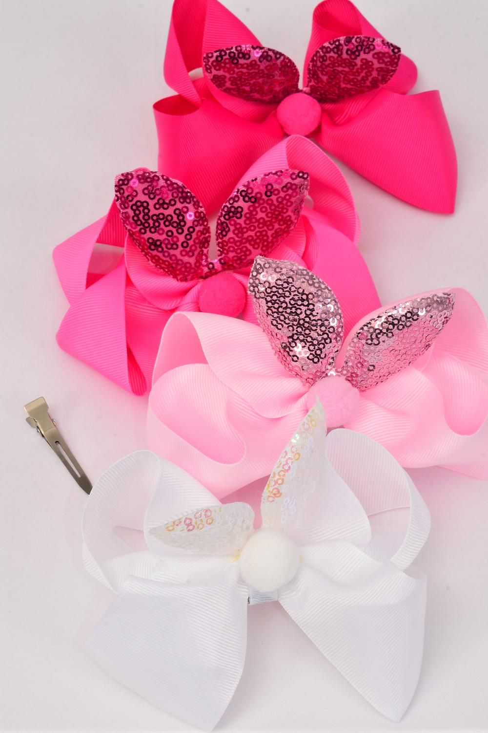 "Hair Bow Jumbo Bunny Ear Mermaid Sequin Fabric 2 Tone Reversible Dragon Shiny Scale Grosgrain Bowtie Pink Mix/DZ **Pink Mix** Alligator Clip,Size-6""x 6"" Wide,3 of Color Asst,Clip Strip & UPC Code"