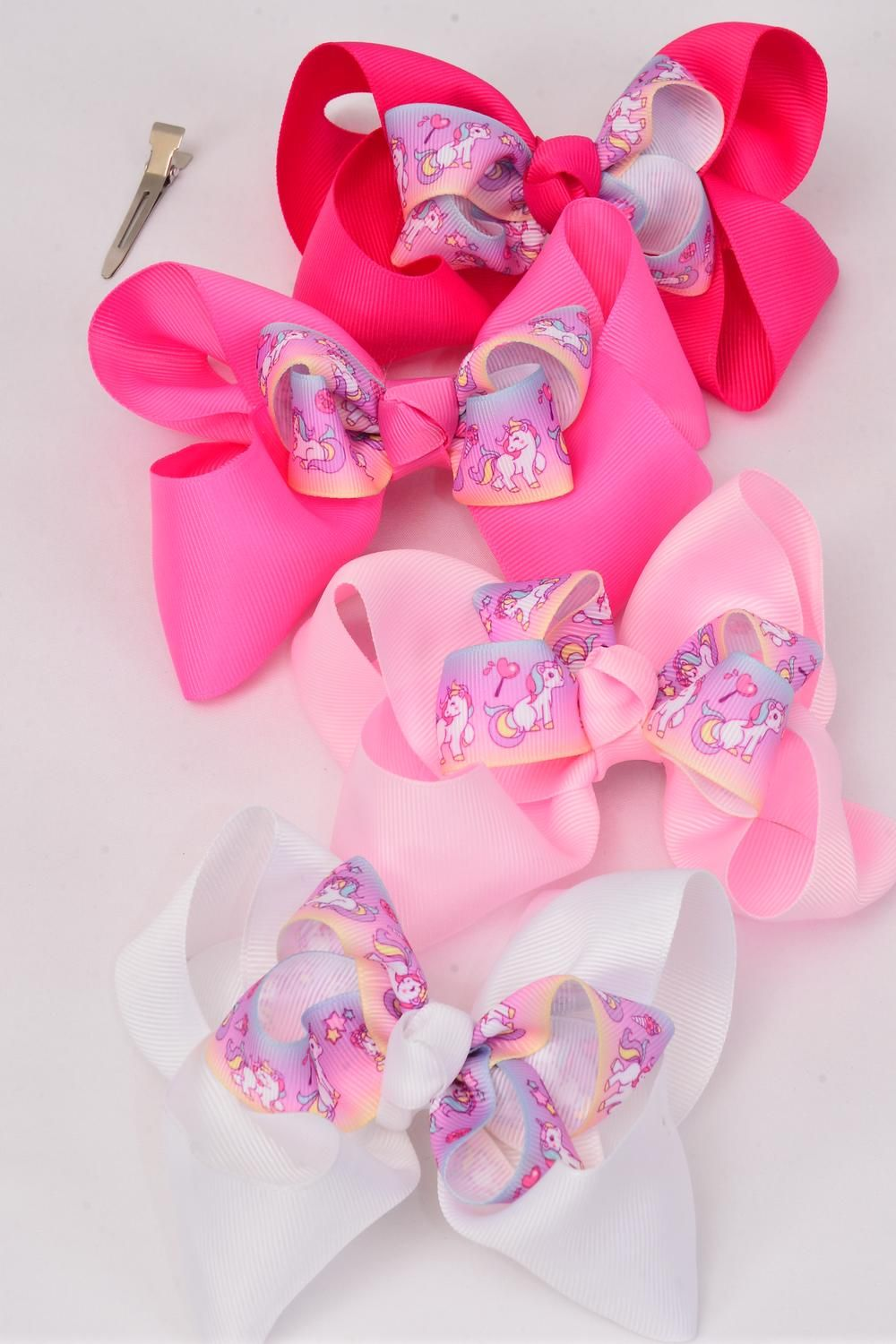 "Hair Bow Rainbow Baby Unicorn Grosgrain Bowtie Pink Mix/DZ **Pink Mix** Alligator Clip,Bow-6""x 5"",3 of each Color Asst,Clip Strip & UPC Code"