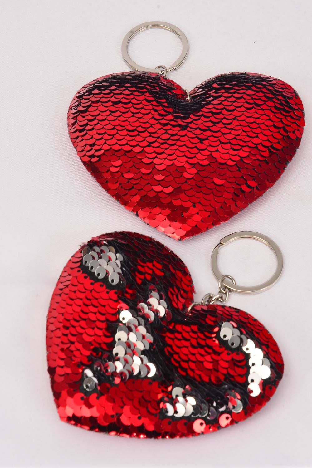 "Key Chain Red Heart Mermaid Sequin Fabric 2 Tone Reversible Dragon Shiny Scale **Red** Size-4.5""x 3.25 Wide, OPP Bag"