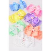 "Ballerina Headband Grosgrain Bowtie Unicorn Pastel/DZ **Pastel** Stretch,Ballerina-2.75"" Wide,Bow-4""x 3"",2 White,2 Pink,2 Blue,2 Purple,2 Yellow,1 Peach,1 Mint Green,7 Color Mix,Clip Strip & UPC Code"