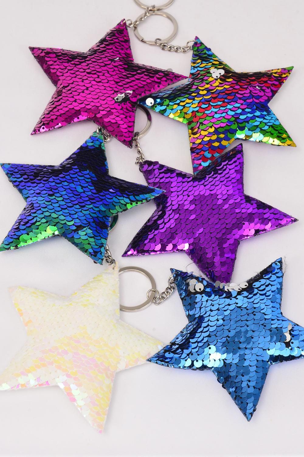 "Key Chain Star Multi Mermaid Sequin Fabric 2 Tone Reversible Dragon Shiny Scale/DZ **Multi** Size-4.5"" Wide,2 of each Color Asst,OPP Bag"