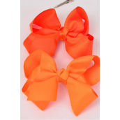 "Hair Bow Jumbo Orange Mix Grosgrain Fabric Bow-tie/DZ **Orange Mix** Alligator Clip,Size-6""x 5"" Wide,6 of each Color Asst,Clip Strip & UPC Code"