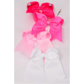 "Hair Bow Extra Jumbo Long Tail Cheer Type Bow Pink Mix Grosgrain Bow-tie/DZ **Pink Mix** Alligator Clip,Size-7""x 6"" Wide,3 of each Color Asst,UPC Code W Clear Strip"