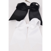 "Hair Bow Extra Jumbo Long Tail Cheer Type Bow Black & White Mix Alligator Clip Grosgrain Bow-tie/DZ **Black & White** Alligator Clip,Size-6.5""x 6"" Wide,6 Black,6 White Asst,Clip Strip & UPC Code"