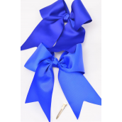 "Hair Bow Extra Jumbo Long Tail Cheer Type Bow Royal Blue Alligator Clip Grosgrain Bow-tie/DZ **Royal Blue** Alligator Clip,Size-6.5""x 6"" Wide,Clip Strip & UPC Code"
