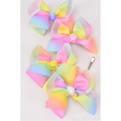 "Hair Bow Jumbo 2 tone Rainbow Grosgrain Bow-tie Pastel/DZ **Alligator Clip** Size-6""x 5"" Wide,2 of each Color Mix,Clip Strip & UPC Code"