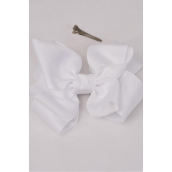 """Hair Bow Cheer Type Bow Double Layer White Grosgrain Bow-tie/DZ **White** Size-8""""x 7"""" Wide,Alligator Clip,Clip Strip & UPC Code"""